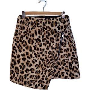 3/30$ H&M Leopard Print Faux Wrap Mini Skirt, sz 4
